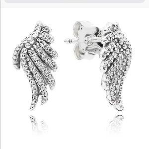 Authentic pandora mystique feather earrings